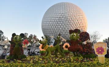 Las interpretaciones florales de Mickey, Pluto y Minnie recibirán a las miles de personas que diariamente visiten Epcot hasta el 28 de mayo. (Gregorio Mayí / Especial para GFR Media)